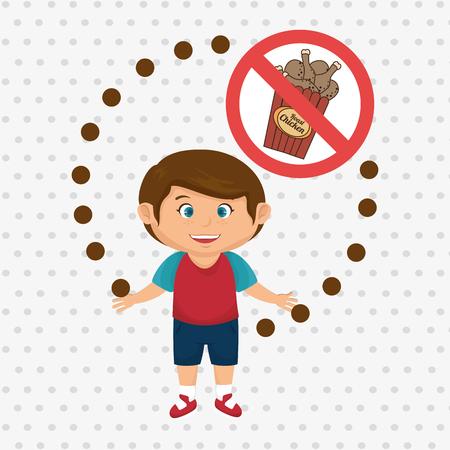 junkfood: cartoon child fast food danger symbol vector illustration Illustration