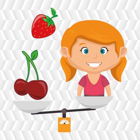 illustratin: cartoon girl food fruit balance vector illustratin