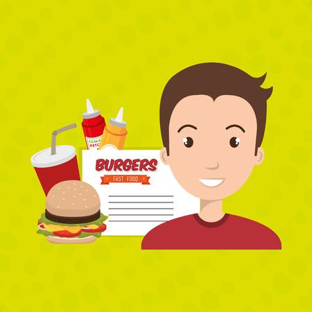 sesame: child cartoon man fast food vector illustration