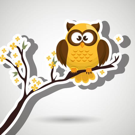 owl illustration: owl yellow tree leaves yellow vector illustration Illustration