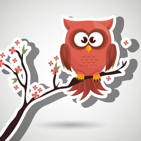 owl orange tree leaves orange vector illustration