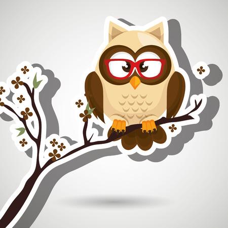 owl illustration: owl beige tree leaves beige vector illustration