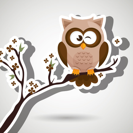 drawing trees: owl brown tree leaves brown vector illustration