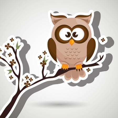 owl illustration: owl brown tree leaves brown vector illustration