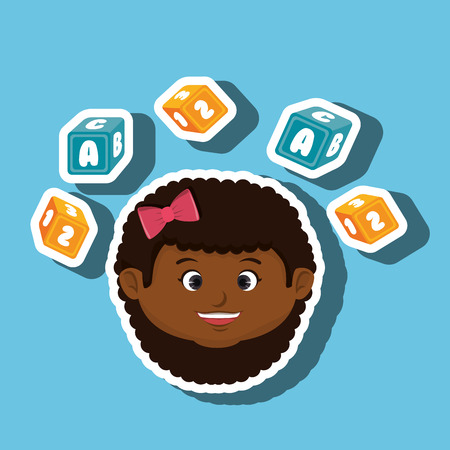 child girl cartoon cubes alphabet letters vector illustration