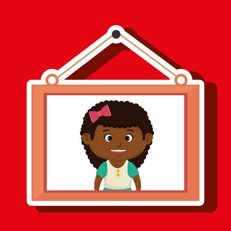 face girl framed picture hanging vector illustration