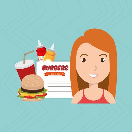 child cartoon girl fast food vector illustration