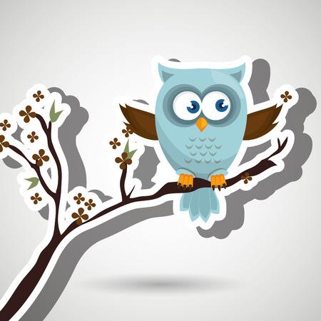 owl illustration: owl blue tree leaves blue vector illustration