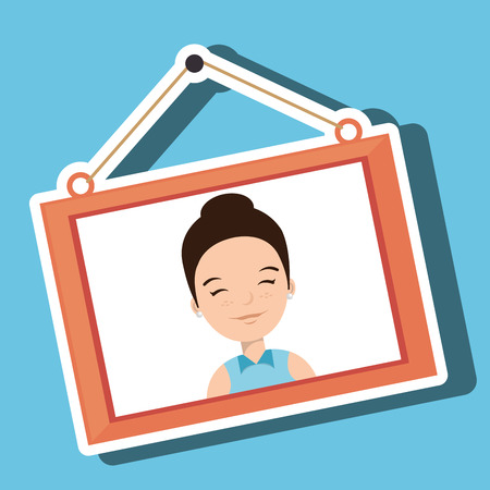 hanging girl: face girl framed picture hanging vector illustration