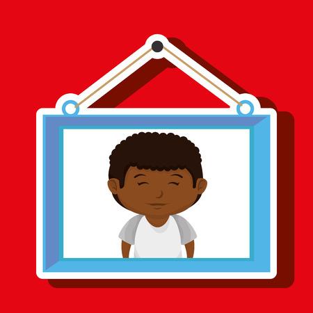 Face Boy Framed Picture Hanging Vector Illustration
