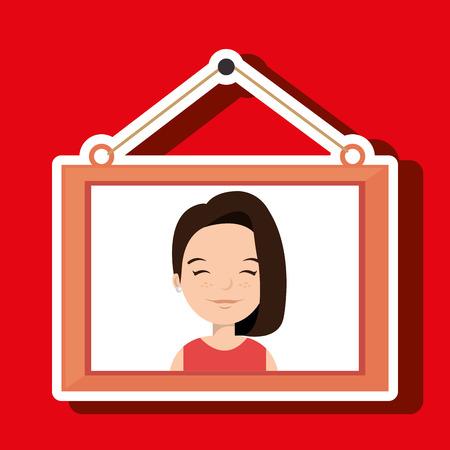 tied girl: face girl framed picture hanging vector illustration