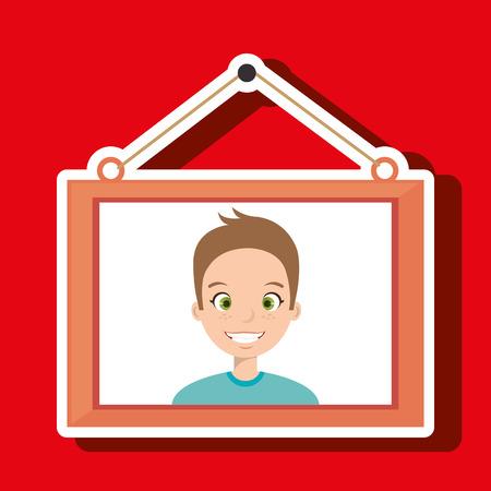 face boy framed picture hanging vector illustration eps 10