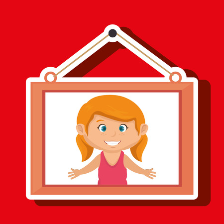hanging girl: face girl framed picture hanging vector illustration eps 10