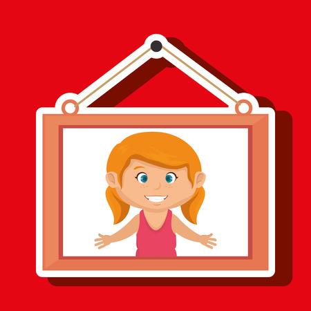 face girl framed picture hanging vector illustration eps 10