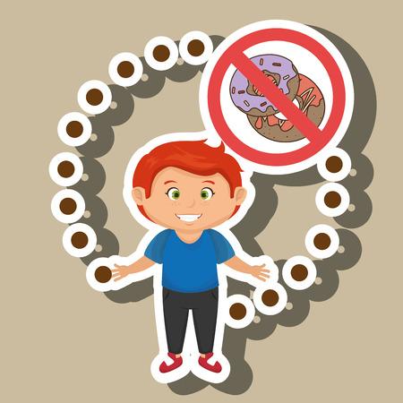 fattening: cartoon child fast food danger symbol vector illustration Illustration