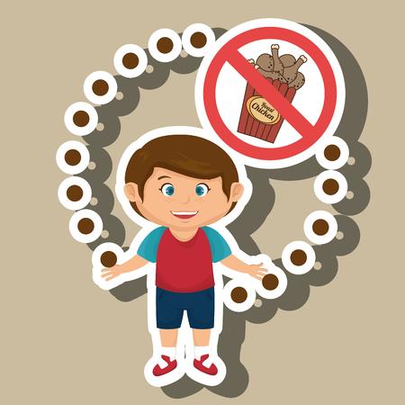 cartoon child fast food danger symbol vector illustration Illustration