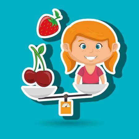 cartoon girl food fruit balance vector illustratin