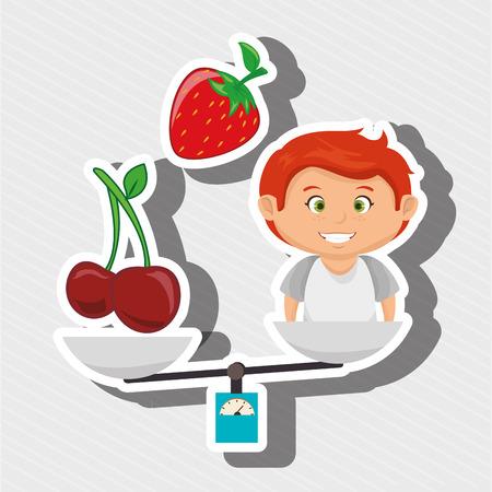 illustratin: cartoon boy food fruit balance vector illustratin