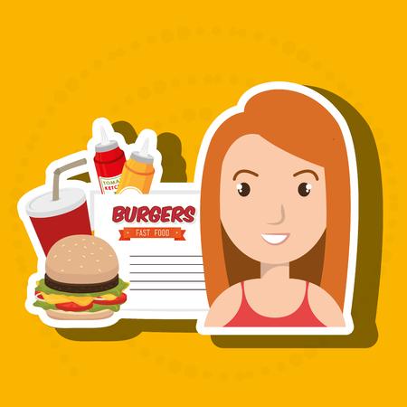 hungry kid: child cartoon girl fast food vector illustration