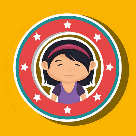 eyes are closed: icon cartoon child happy vector illustration eps 10