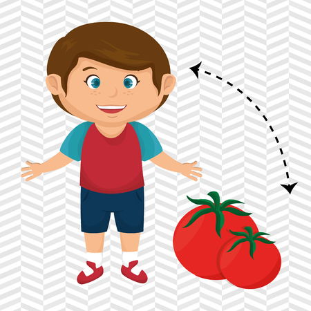 boy cartoon tomato vegetable health vector illustration eps 10 Illustration