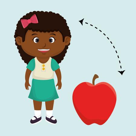 illustratin: girl cartoon fruit apple red vector illustratin eps 10