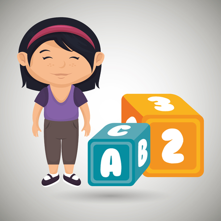 cartoon girl cube blue and yellow alphabet vector illustration eps 10