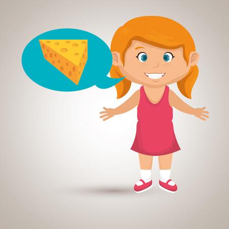 girl cartoon cheese sliced food vector illustration eps 10