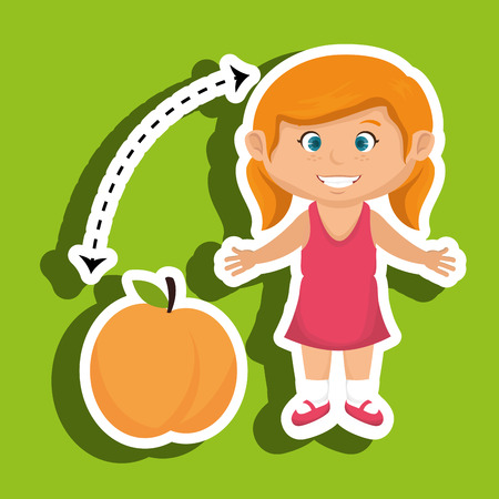 cartoon girl peach fruit vector illustration eps 10 Illustration