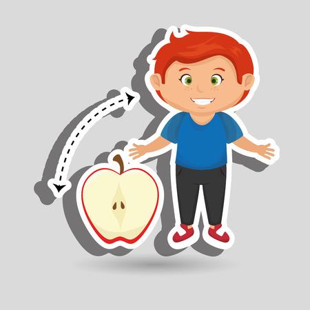 sliced apple: boy cartoon fruit sliced apple vector illustration eps10