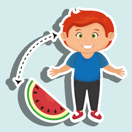 boy cartoon sliced watermelon vector illustration eps 10