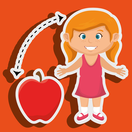 apple red: girl cartoon fruit apple red vector illustratin eps 10