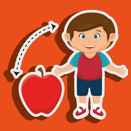 illustratin: boy cartoon fruit apple red vector illustratin eps 10