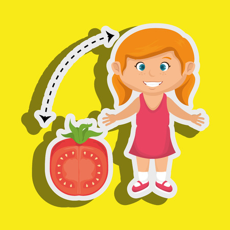 cartoon tomato: girl cartoon tomato vegetable health vector illustration eps 10
