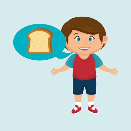 boy cartoon bread slice vector illustration eps 10 Illustration