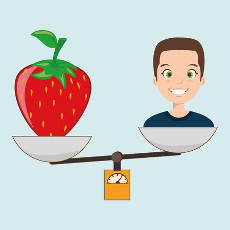 food hygiene: woman cartoon fruit strawberry food balance vector illustration