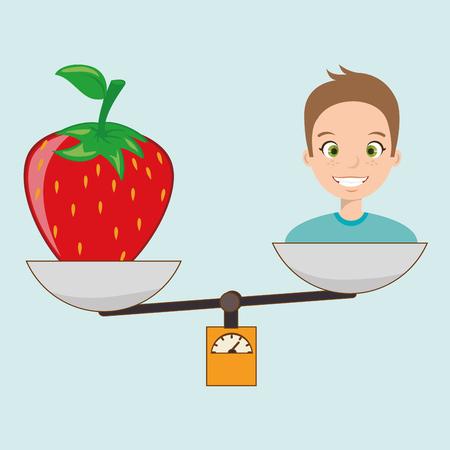 woman cartoon fruit strawberry food balance vector illustration