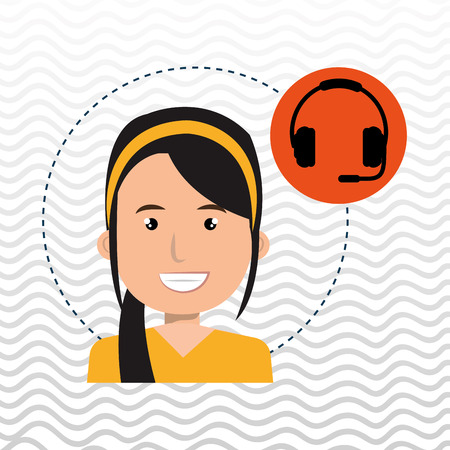 woman headphone isolated icon design, vector illustration graphic