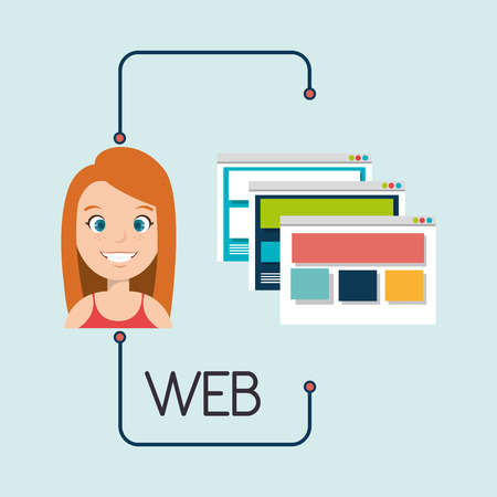 interface menu tool: woman cartoon web page vector illustration eps 10