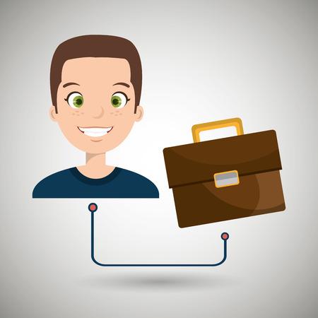 cartoon suitcase: man cartoon suitcase business portfolio vector illustration eps 10 Illustration