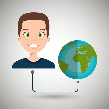 humane: man cartoon globe planet connected vector illustration