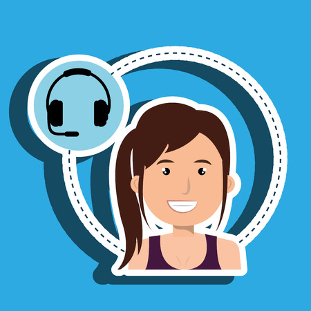 call centre girl: woman headphone isolated icon design, vector illustration graphic