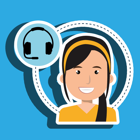 tied girl: woman headphone isolated icon design, vector illustration graphic
