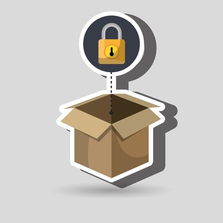 box padlock data secure vector illustration