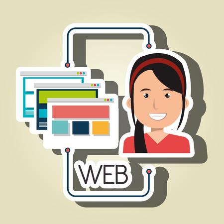 interface menu tool: woman cartoon web page vector illustration