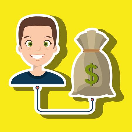 man cartoon bag money dollar vector illustration