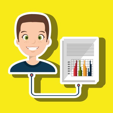 demografia: estadísticas de infografía ilustración vectorial de dibujos animados hombre Vectores