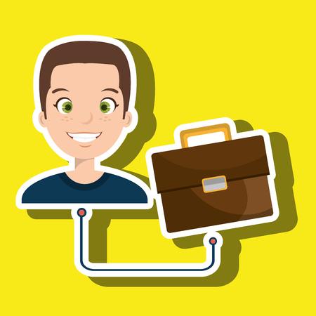 cartoon suitcase: man cartoon suitcase business portfolio vector illustration Illustration