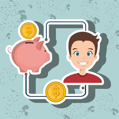 economize: man cartoon piggy currency money vector illustration Illustration