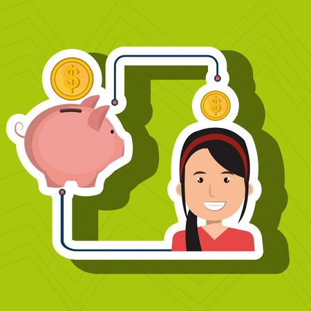 woman cartoon piggy currency money vector illustration